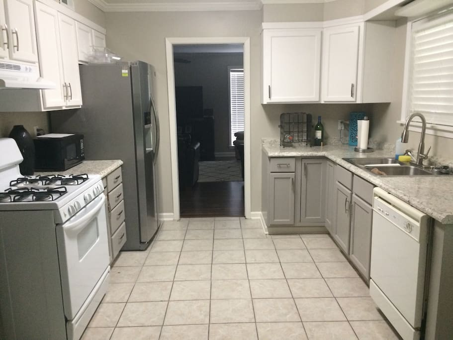 Newly pained kitchen cabinets.