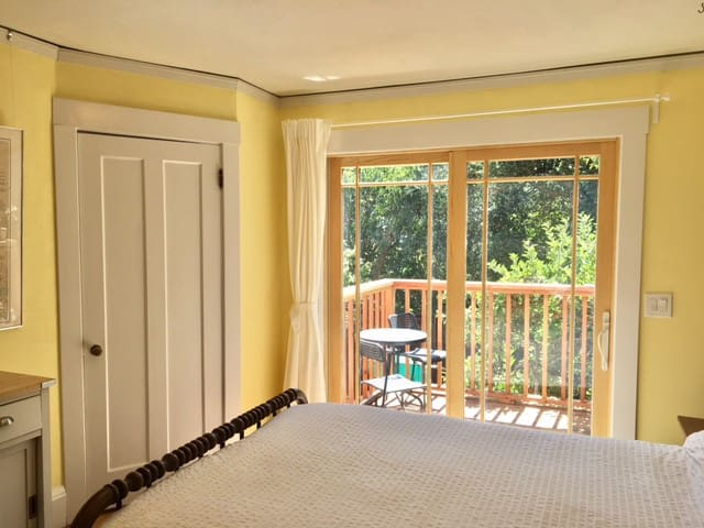 Sun filled room w/private deck, entrance and bath