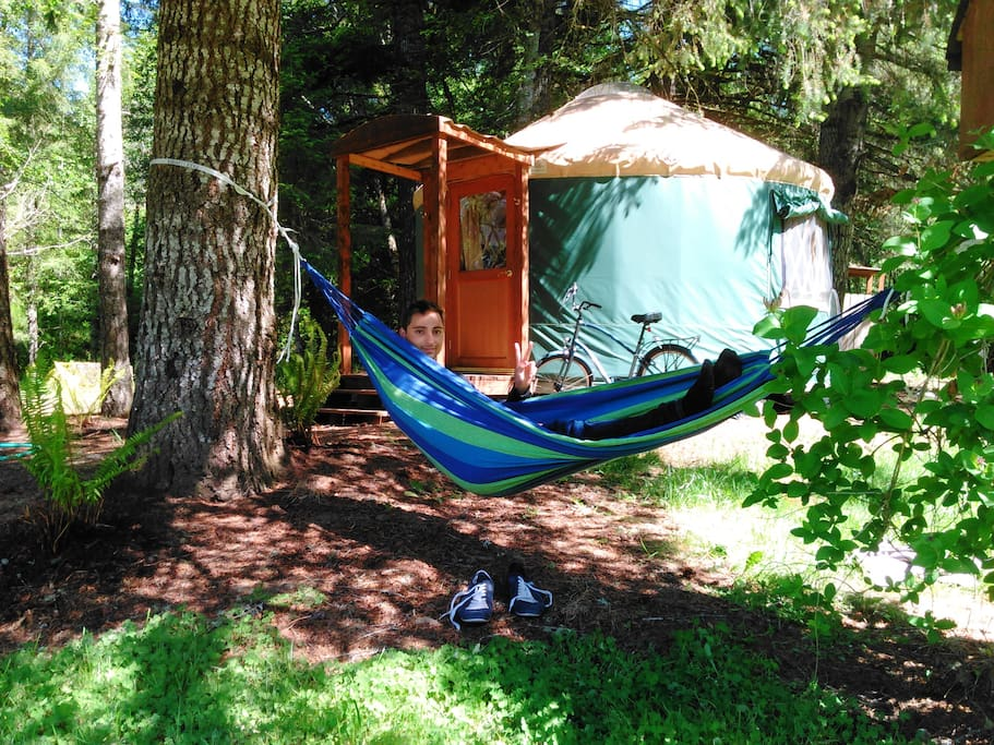 Hammock in Front of Chinook Yurt