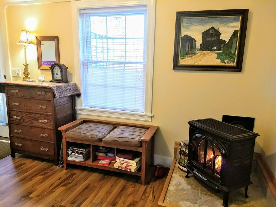 Propane fireplace heater in bedroom, board games, books