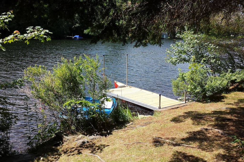 Relax on the grassy area or on the dock.