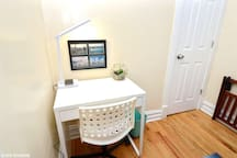 Desk & charging station -in case you need to work while away from home