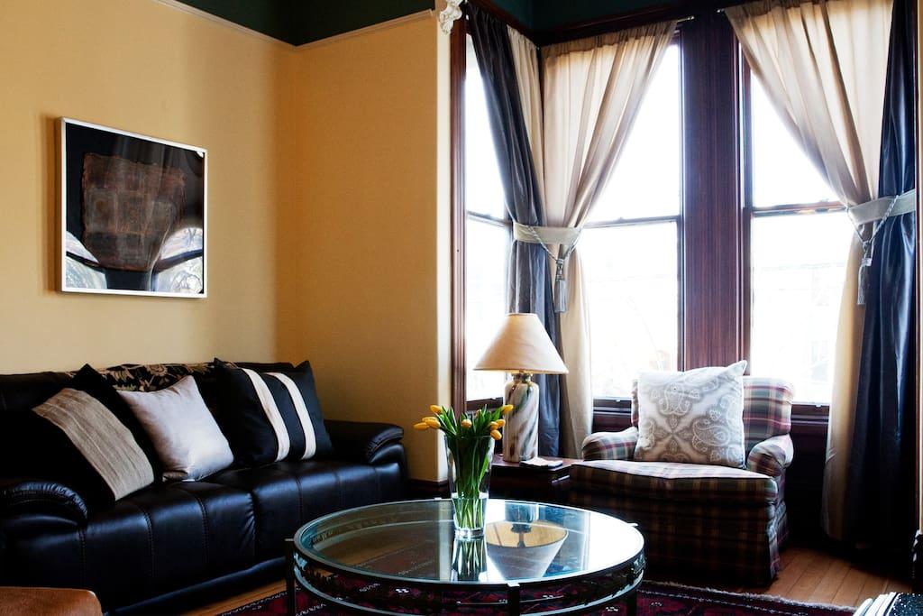 Living room bay window.