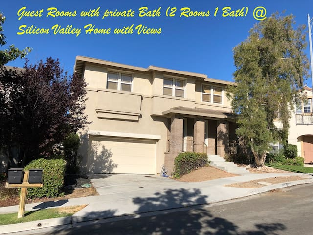 Guest Rooms 2RM/1BA @ Silicon Valley Home w Views