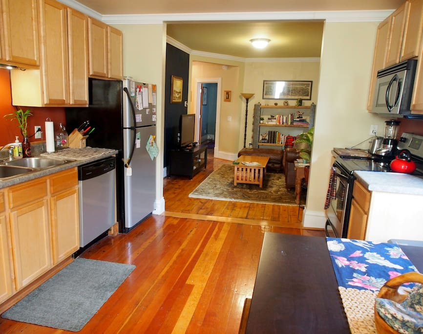 Great kitchen for cooking and gathering with friends around the dining table