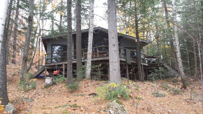 View from dock up to cottage (in fall).