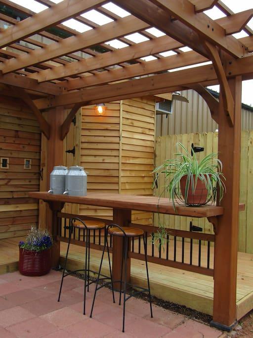 Part of outdoor kitchen, bathroom