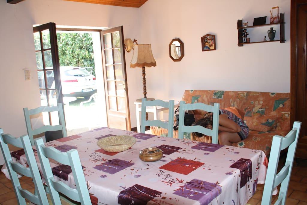 Pièce de vie avec la télé, canapé convertible (clic-clac) // Living room with TV, sofa bed