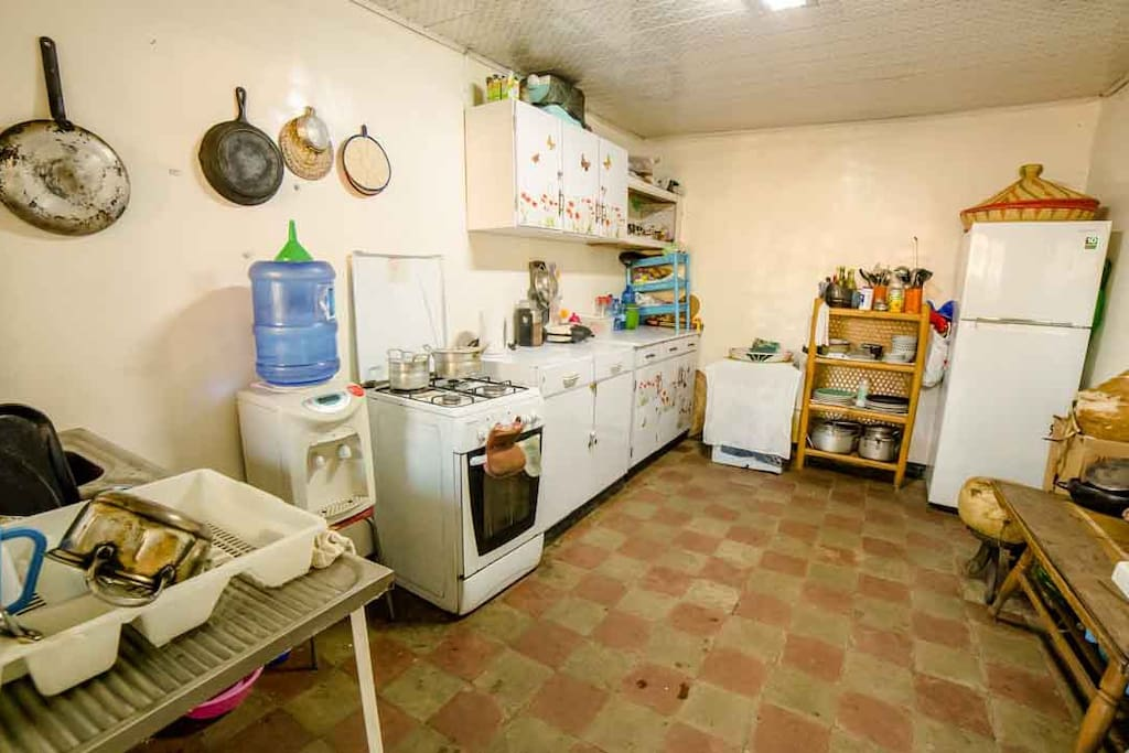 Spacious kitchen with all sorts of equips. Complementary water, spices and gas. Designated space for your groceries.