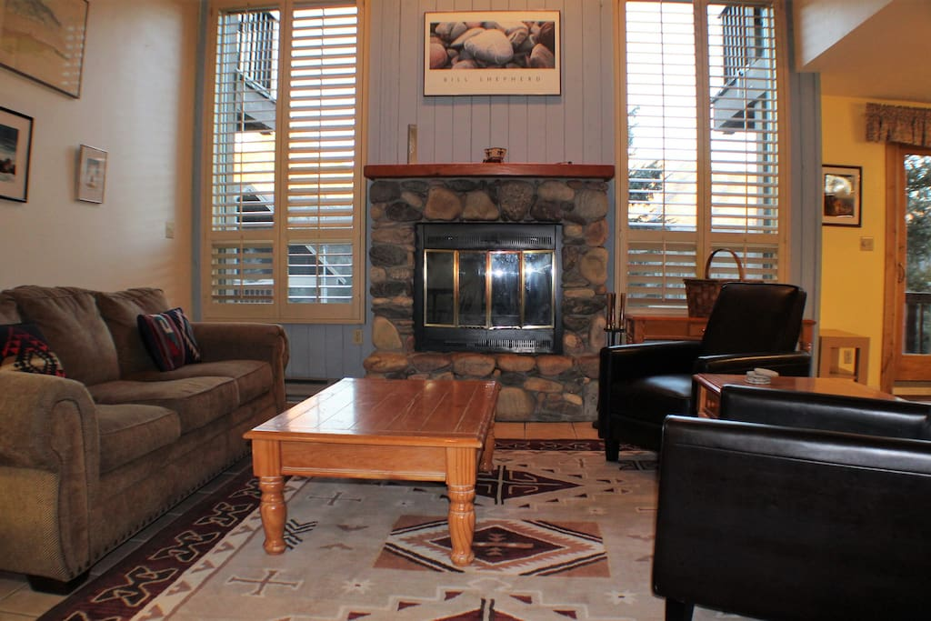 Beautiful living area with firewood provided