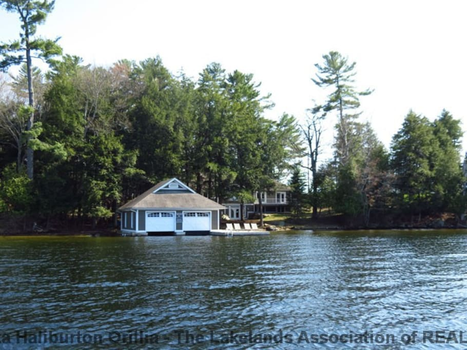 two slip boathouse with dock