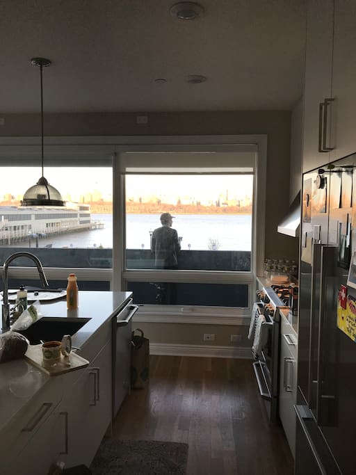 View from fully equipped new kitchen