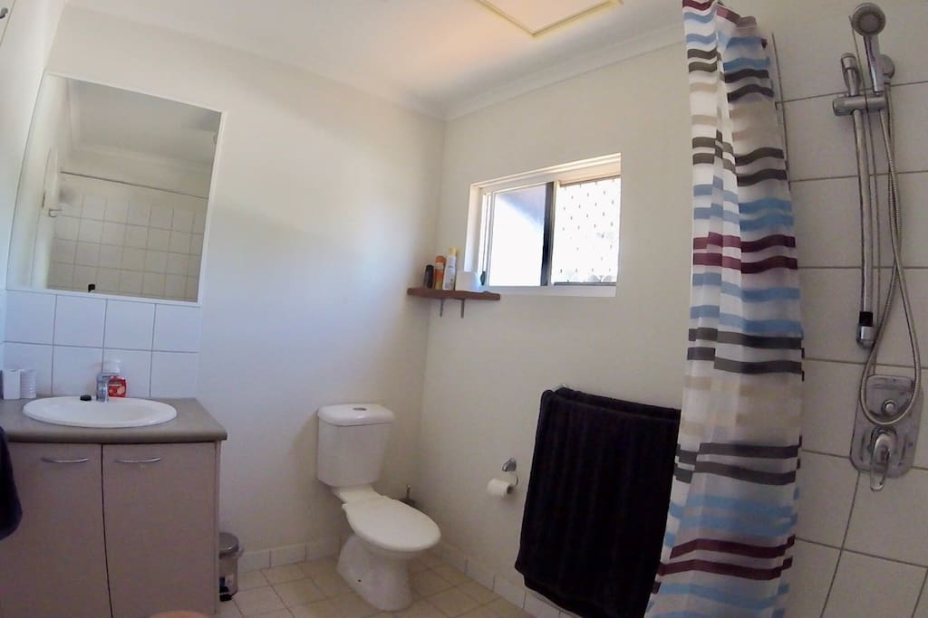Your own separate ensuite bathroom containing vanity, toilet, shower/bath. Towels, soap, shampoo, conditioner and hair dryer, iron supplied.