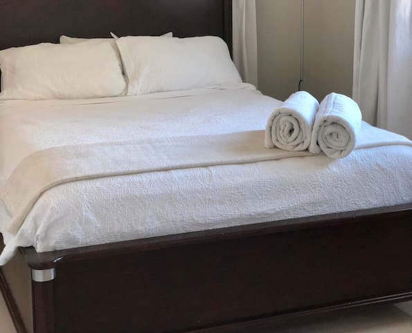 Our queen sized, comfortable guest bed.