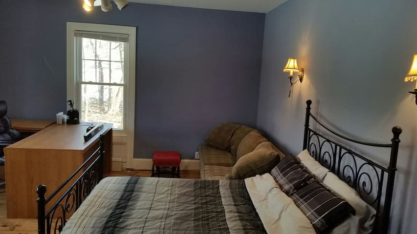 Large Bedroom w Great WorkSpace, Bed+Foldout Couch - Monsey - Casa