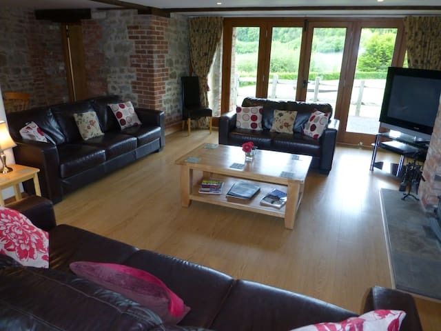 Sitting room with patio and view of the Blackmore Vale