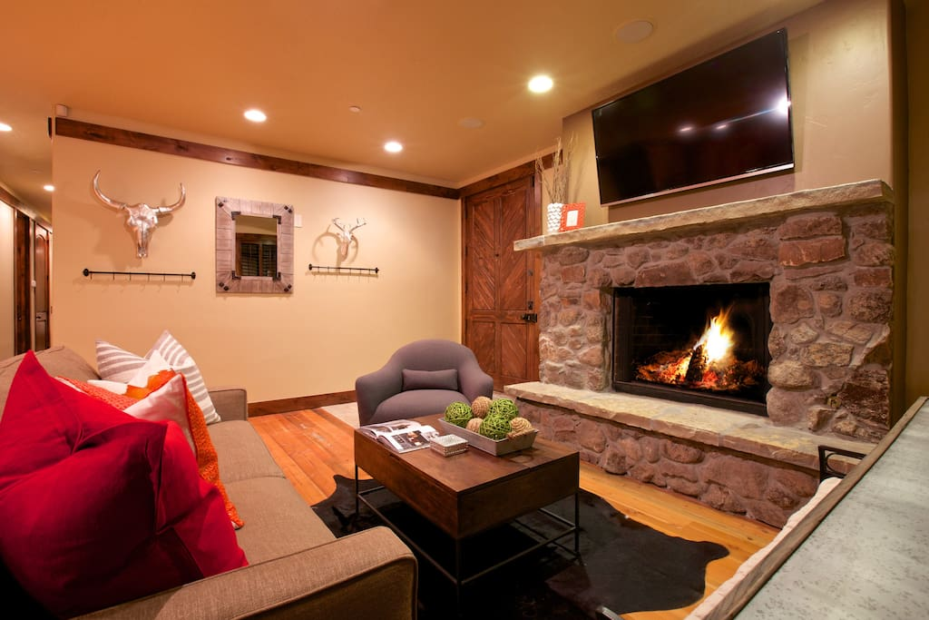 Spacious living room; relax by the fire after a long day on the slopes
