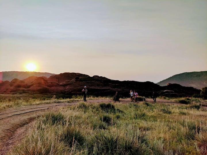 A group enjoying a peaceful sunrise.