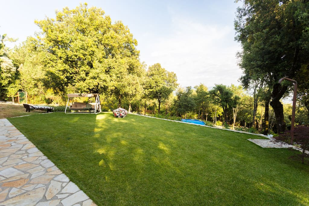 The backyard with Hollywood swing, lounger and pool
