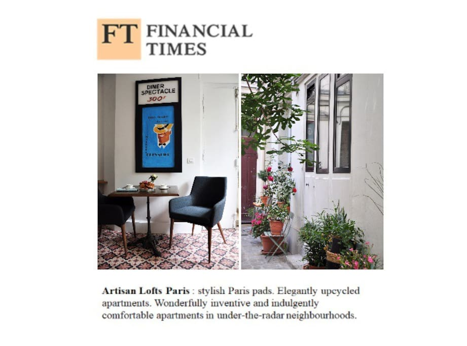 Selected by the Financial Times travel & Lifestyle edition, as a reference in Hotel confort, design & hospitality in Paris : )