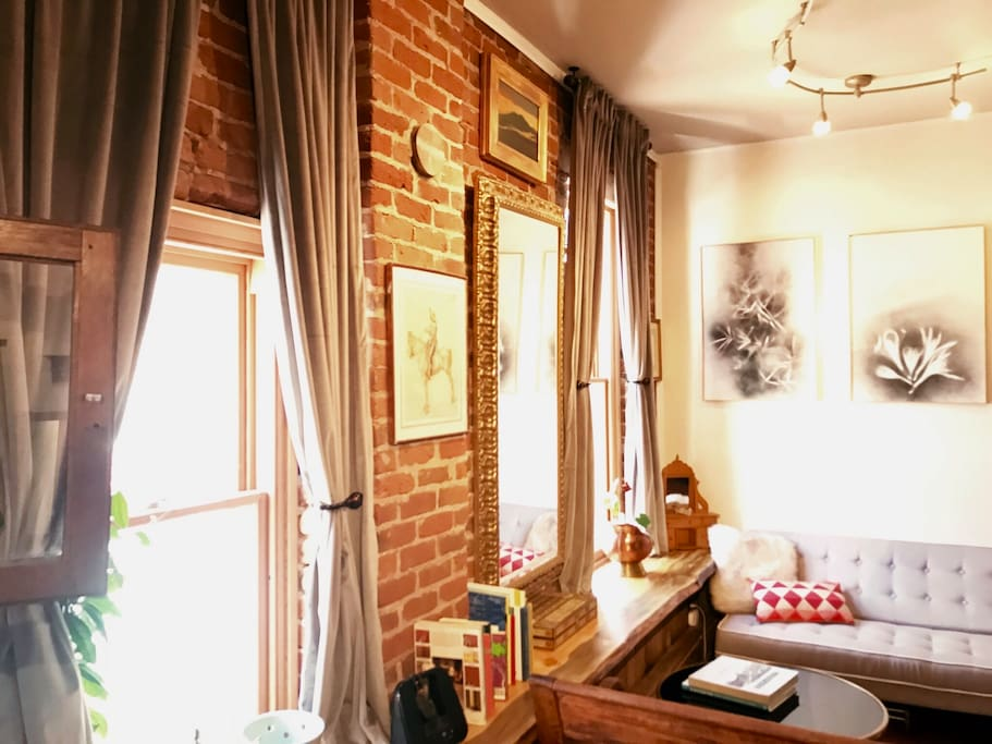 Exposed brick walls, new windows!