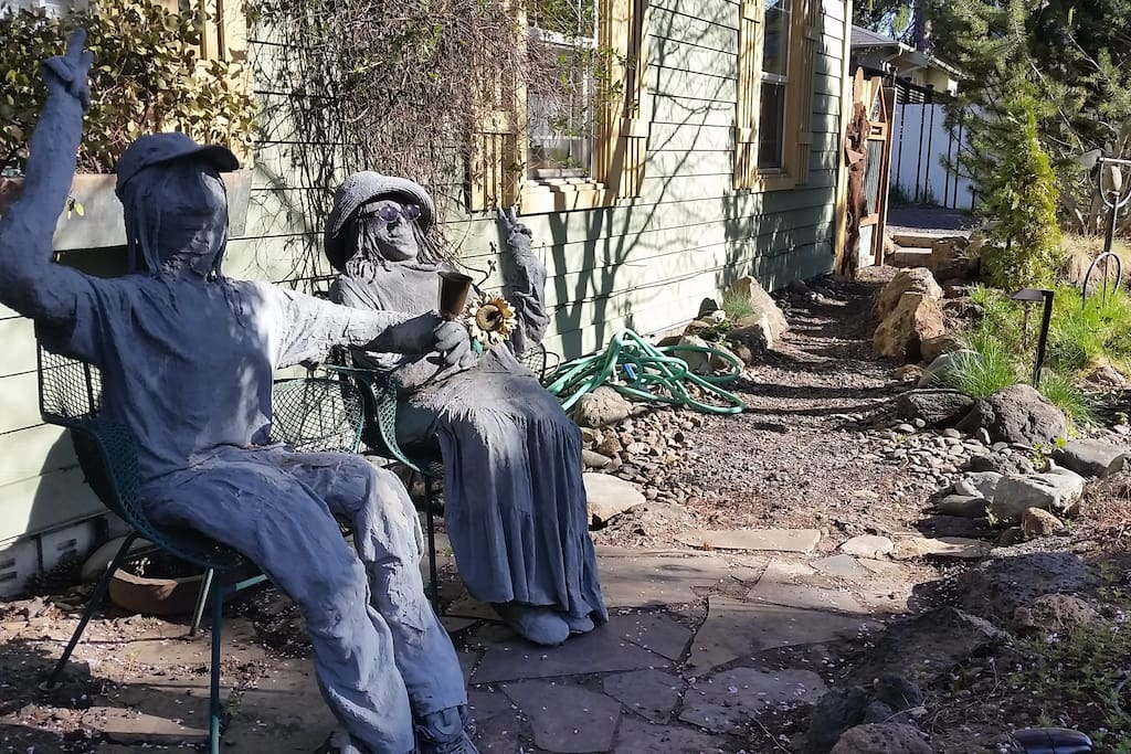 "The ""odd"" couple welcomes you on the lighted path to rental."