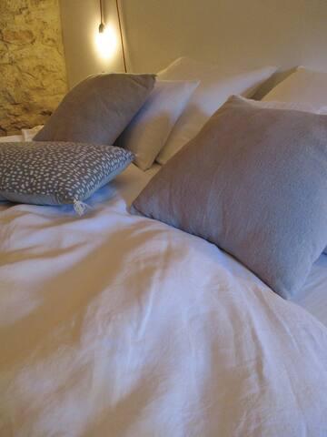 parure de lit en lin lavé
