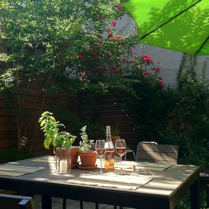 Enjoy a glass of wine in your private garden.