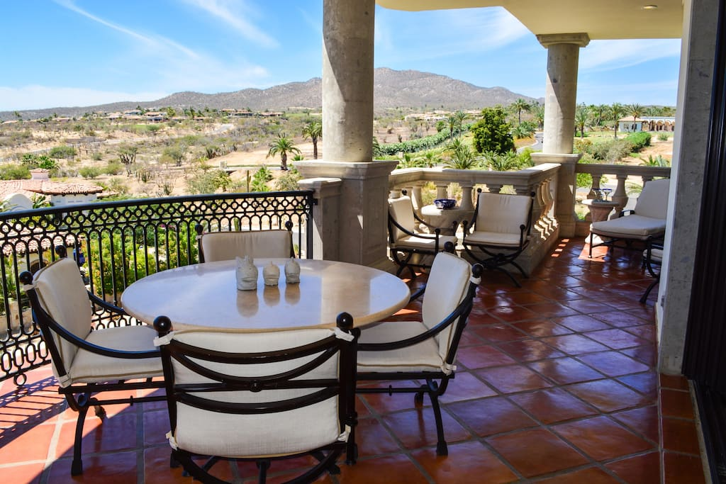 290-sf private terrace has fabulous ocean, mountain, and golf course views.