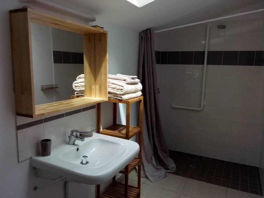 Salle de bain attenante à chaque chambre du RDC