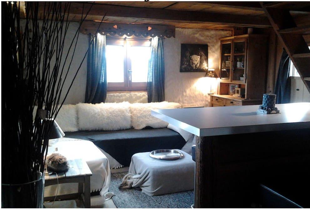séjour cosy, canapé d'angle et vue sur la terrasse
