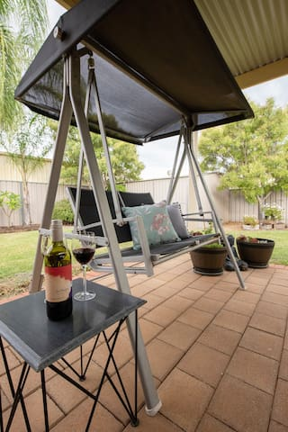 Outdoor Double Swing Chair & Table