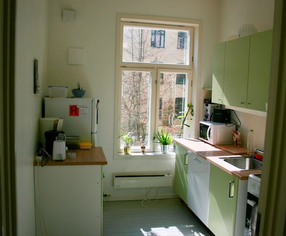 Our sunny kitchen. A great place to start your day. Enjoy our filled up fridge and coffe/tea machine for a cheeky breakfast. And our delicious included dinner to finish your day the best way possible.