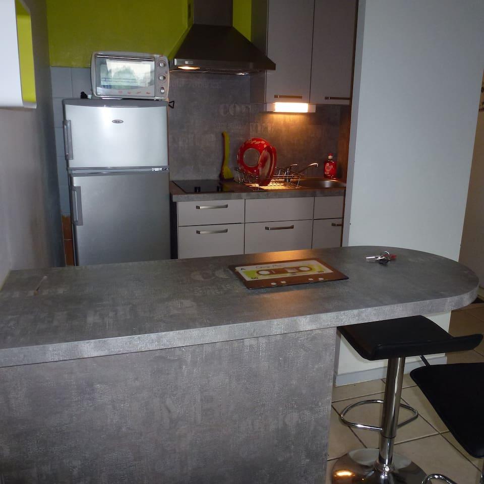cuisine , frigo avec petit congélateur