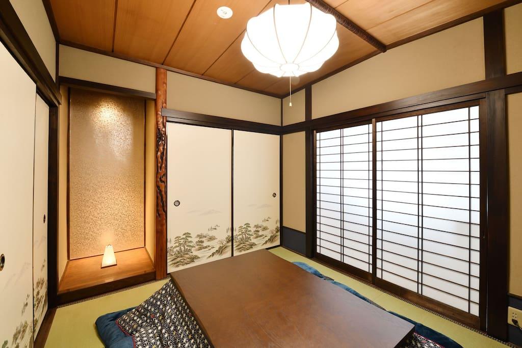 living room with kotatsu heating table