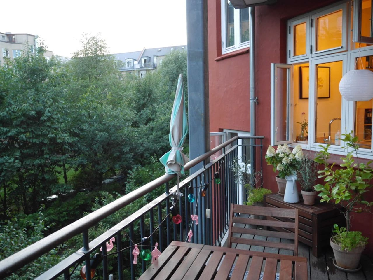 Balcony with view of private shared garden. Sun all afternoon and evening