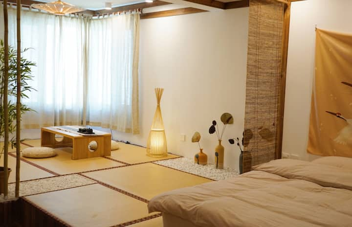 【逸休·room6】日式和风近海公寓/新茂业/近燕大/新澳海底世界/小吃街、可做饭