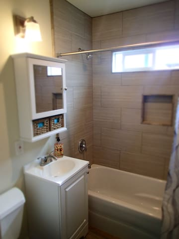 Bathroom inside full shower and bath tub