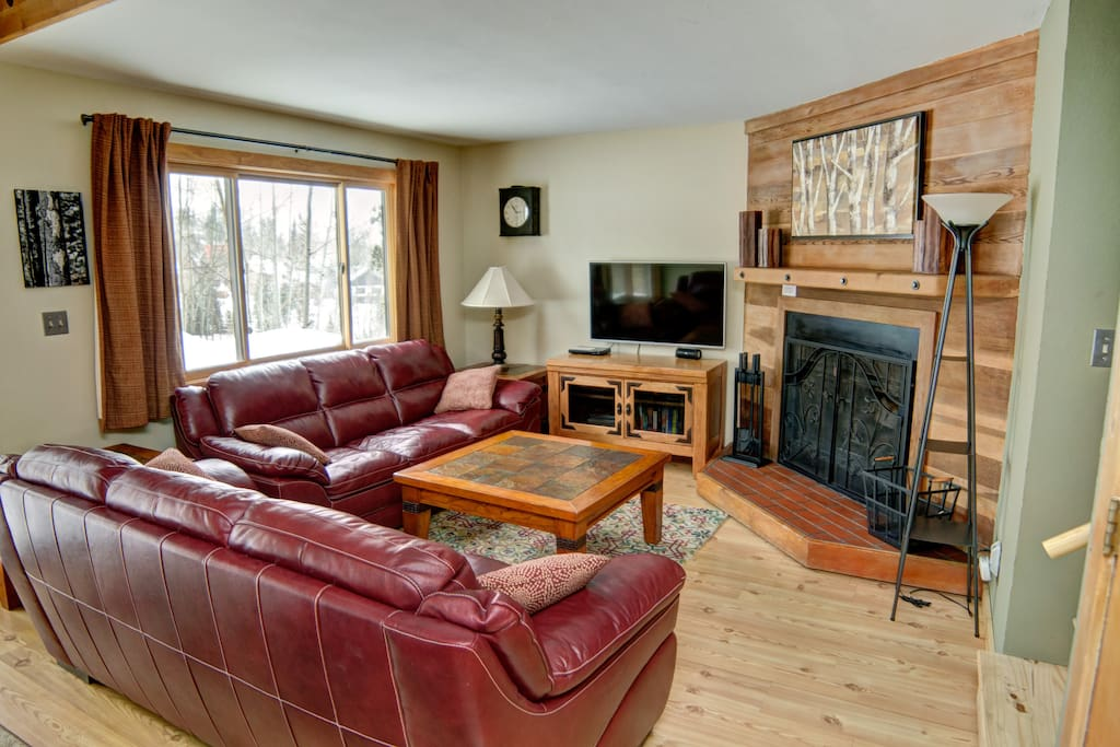 Stretch out on one of the two soft-leather sofas and chat in front of the wood-burning fireplace.
