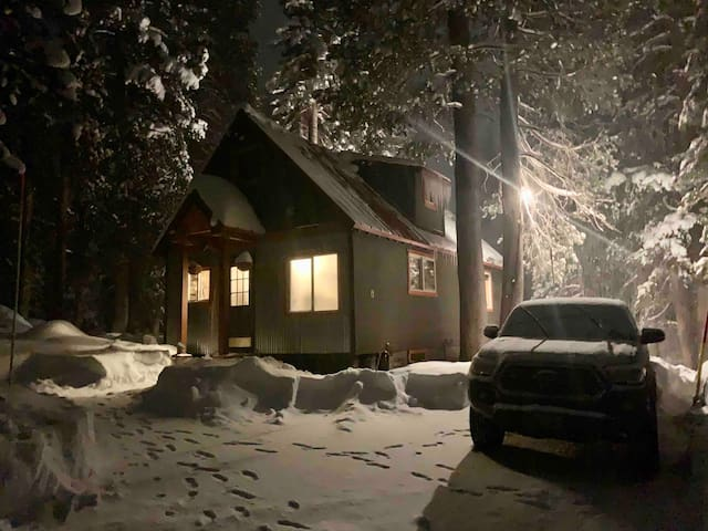 Nighttime at the front of the cabin.