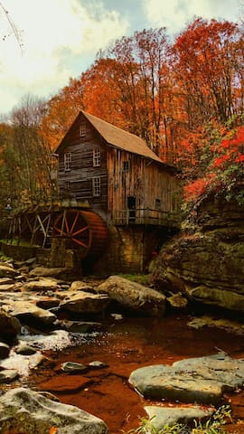 The most photographed site in WV, Babcock State Pk Gris Mill, less than an hour away.