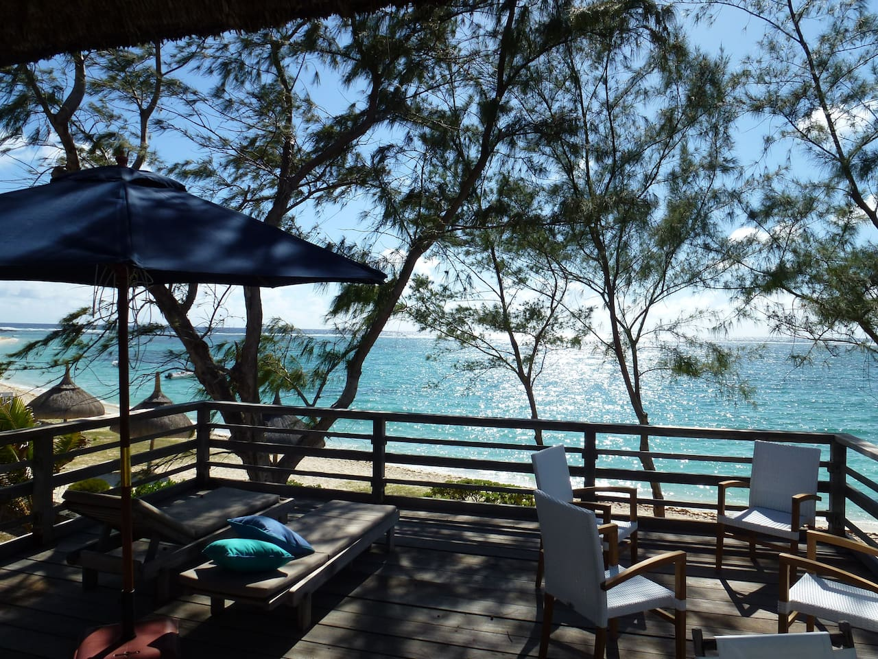 View from the deck overlooking the amazing turquoise lagoon