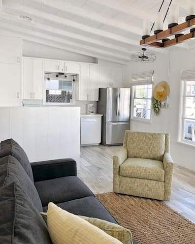 Open living room and kitchen area