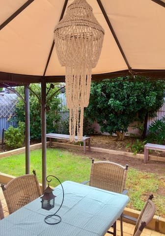 Undercover outdoor dinning courtyard available to eat a meal or enjoy a cuppa with a book.