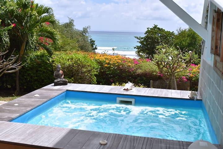 Bas de Villa avec piscine et accès direct à la mer