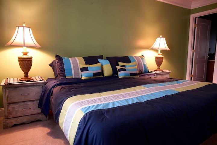 2nd Bedroom boasts  king sized memory foam mattress .