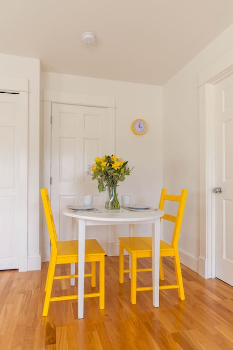 Quaint dining area for 2. Perfect for breakfast!