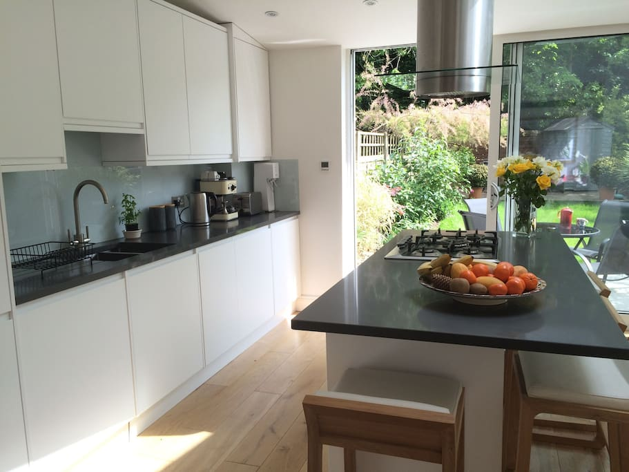 Glass doors provide garden backdrop to kitchen