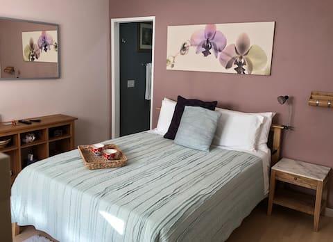Master slaapkamer met eigen badkamer/entree