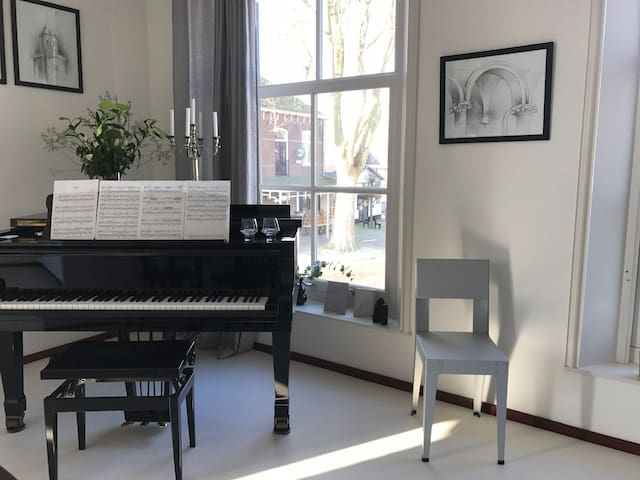 Stylish apartment with grand piano